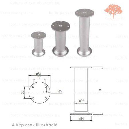 Fém henger alakú szatén (matt) króm színű ø32mm / 150mm-es bútorláb