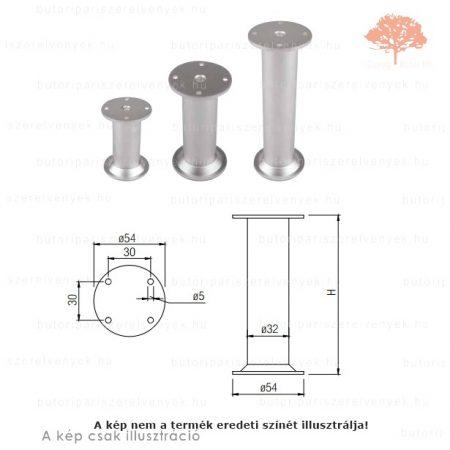 Fém henger alakú fényes króm színű ø32mm / 100mm-es bútorláb