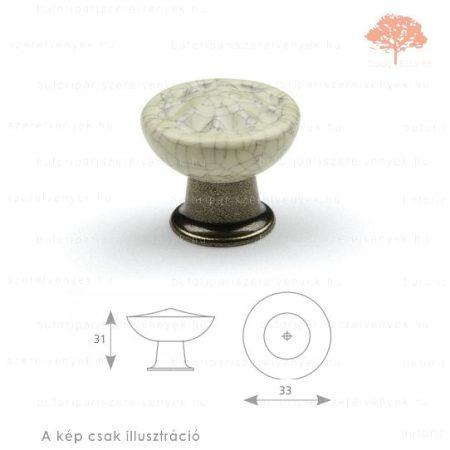 CO sötétbronz/repedezett porcelán színű gomb