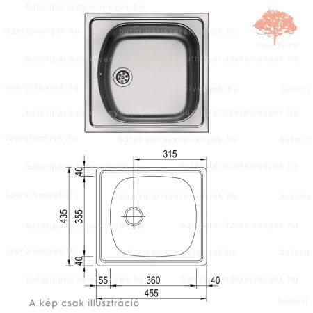 "Franke  ETN 610 - 435x455mm-es nemesacél 6/4"" mosogató"