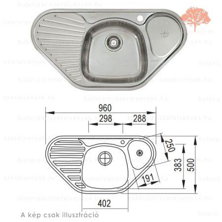 "Franke MON 681 E - 960x500mm-es nemesacél 3 1/2"" sarok mosogató"