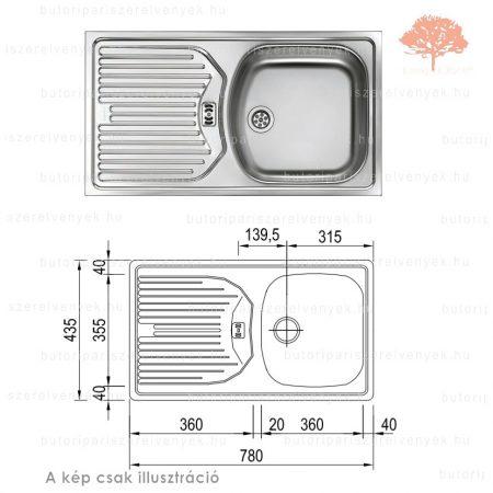 """Franke  ETN(L) 614 - 780x435mm-es nemesacél 6/4"""" mosogató JOBBOS csepegtetővel"""