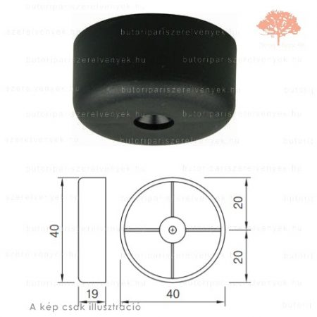 Fekete színű ø40mm-es csavarozható csúszótalp