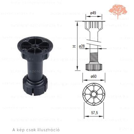Henger alakú ø60/25mm /100mm-es fekete műanyag sclim szokliláb