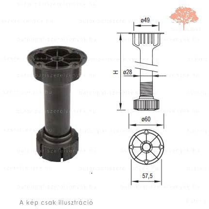 Henger alakú ø60/25mm /120mm-es fekete műanyag sclim szokliláb