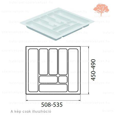 Fehér színű 600mm-es műanyag evőeszköztartó