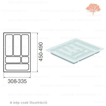 Fehér színű 400mm-es műanyag evőeszköztartó
