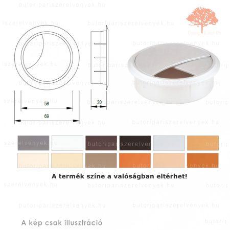 Világos szürke színű KEREK ø60mm-es zárható műanyag kábelkivezető