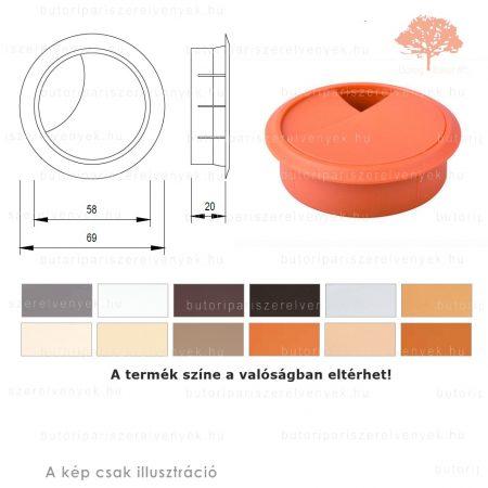 Bükk színű KEREK ø60mm-es zárható műanyag kábelkivezető