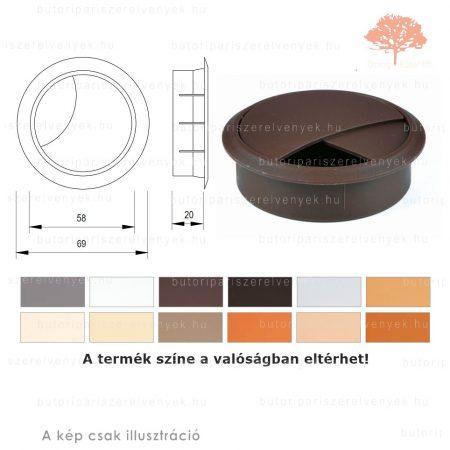 Barna színű KEREK ø60mm-es zárható műanyag kábelkivezető