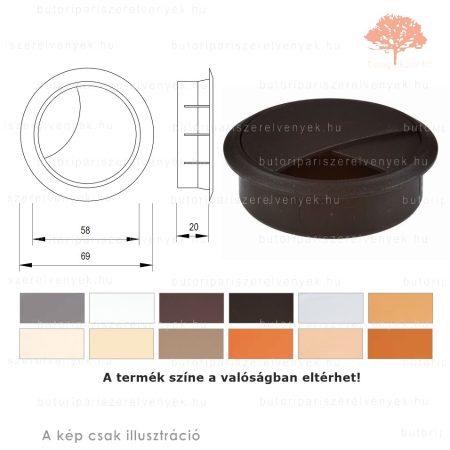 Fekete színű KEREK ø60mm-es zárható műanyag kábelkivezető