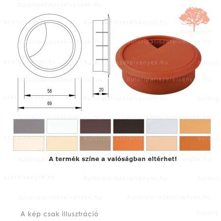 Cseresznye színű KEREK ø60mm-es zárható műanyag kábelkivezető