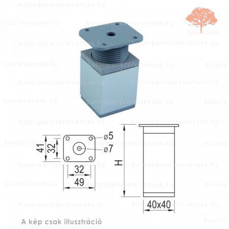 Négyszögletes Al profilú eloxált alumínium+szürke színű 40x40mm / 100mm-es bútorláb