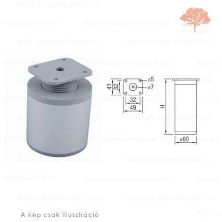 Henger Al profilú eloxált alumínium színű ø60mm / 60mm-es bútorláb
