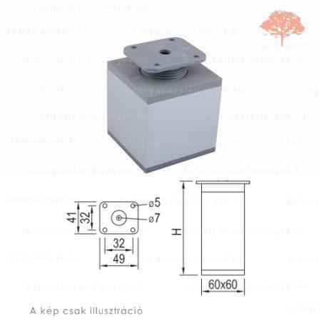 Négyszögletes Al profilú eloxált alumínium+szürke színű 60x60mm / 100mm-es bútorláb
