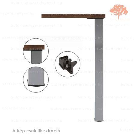 Négyszögletes fényes króm színű 60x60mm / 710mm-es asztalláb acél profilból