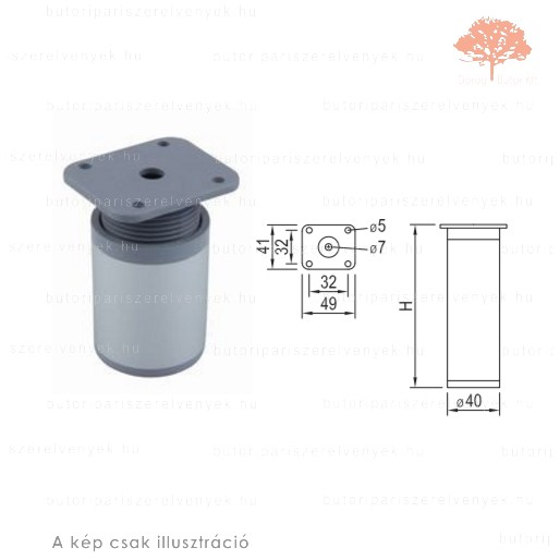 Henger Al profilú eloxált alumínium színű ø40mm / 150mm-es bútorláb